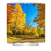 On A Country Road 6 - Paint Shower Curtain
