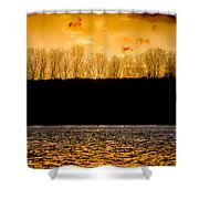 On A Golden Lake Shower Curtain