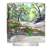 On A Mountain River Shower Curtain