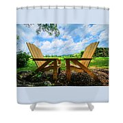 On A Pretty Summer Day Oil Painting Shower Curtain