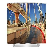 On Deck Of The Schooner Eastwind Shower Curtain