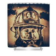 On Duty And Into Fire_dramatic Shower Curtain