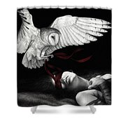 On Silent Wings Shower Curtain by Pat Erickson