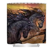 On Sugar Mountain Shower Curtain by Valerie Anne Kelly