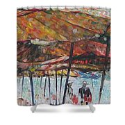 On The Beach 1 Shower Curtain