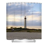 On The Beach At Cape May Lighthouse Shower Curtain