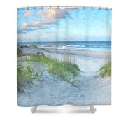 On The Beach Watercolor Shower Curtain by Randy Steele