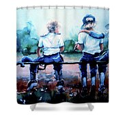 On The Bench Shower Curtain by Hanne Lore Koehler