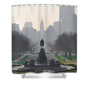 On The Benjamin Franklin Parkway Shower Curtain