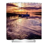 On The Boat Shower Curtain by Okan YILMAZ