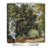 On The Castle Wall, Exeter Shower Curtain