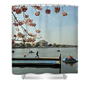 On The Cherry Blossom Dock Shower Curtain