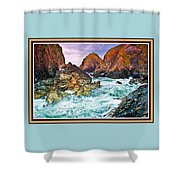 On The Coast Of Cornwall L B With Decorative Ornate Printed Frame. Shower Curtain