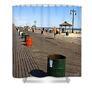 On The Coney Island Boardwalk Shower Curtain