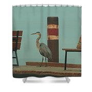 On The Dock With Heron Shower Curtain