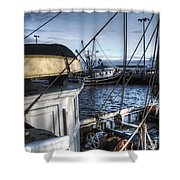 On The Docks In Provincetown Shower Curtain