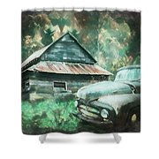 On The Edge Of The Green Mountains Painting Shower Curtain