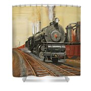 On The Great Steel Road Shower Curtain by Christopher Jenkins