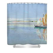 On The Lagoon Shower Curtain by John William Inchbold