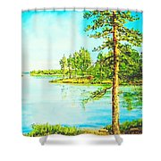 On The Lake In A Sunny Day 2 Shower Curtain