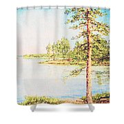 On The Lake In A Sunny Day Shower Curtain