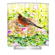On The Nest Shower Curtain