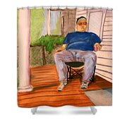 On The Porch With Uncle Pervy Shower Curtain