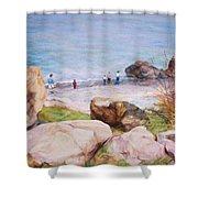 On The Shore Of The Ocean Shower Curtain