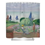 On The Terrace At Prefailles Shower Curtain
