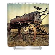 On The Water Wagon - Agricultural Relic Shower Curtain by Gary Heller