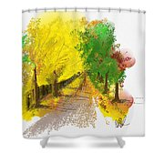 On The Yellow Road Shower Curtain