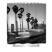 On Time Black And White Shower Curtain