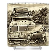 Once Shiny Dreams - Sepia Shower Curtain