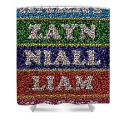 One Direction Names Bottle Cap Mosaic Shower Curtain
