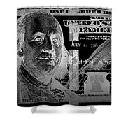 One Hundred Us Dollar Bill - $100 Usd In Silver On Black Shower Curtain