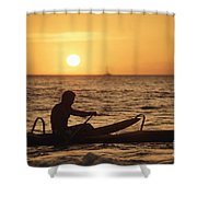 One Man Canoe Shower Curtain by Sri Maiava Rusden - Printscapes