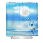 One Moon Light Sea Shower Curtain