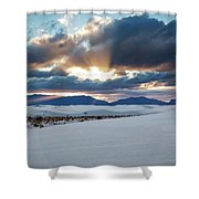 One More Moment - Sunburst Over White Sands New Mexico Shower Curtain