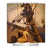 One More Step Mr. Hands - N.c. Wyeth Painting Shower Curtain