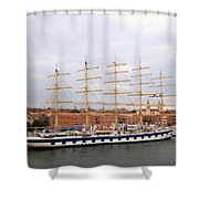 One Of Star Clipper's Masted Cruise Liners Docked In Venice Italy Shower Curtain