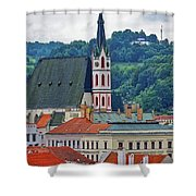 One Of The Churches In Cesky Kumlov In The Czech Republic Shower Curtain