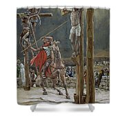 One Of The Soldiers With A Spear Pierced His Side Shower Curtain by Tissot