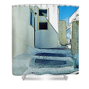One Of The Streets Of Santorini Shower Curtain
