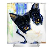 One Paw In Heaven Shower Curtain