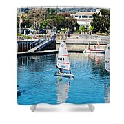 One-person Sailboats By The Commercial Pier In Monterey-california Shower Curtain