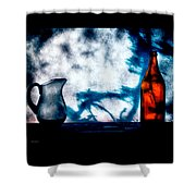 One Red Bottle Shower Curtain by Bob Orsillo