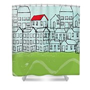 One Red Roof Shower Curtain
