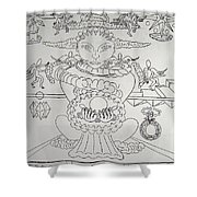 One Thru Nine Drawing Shower Curtain