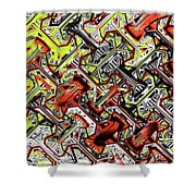 One Version Yellow And Red Abstract Shower Curtain