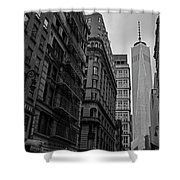 One World Trade Center New York Ny From Nassau Street Black And White Shower Curtain